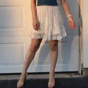 Abercrombie & Fitch White Crochet Mini Skirt XS